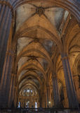 Arcade with fan vault ceiling, Barcelona Cathedral, Spain. Royalty Free Stock Photos