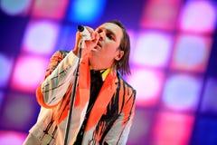 Arcade Fire (grupo de rock indie baseado em Montreal, em Quebeque, em Canadá) executa no festival 2014 do som de Heineken primave Imagens de Stock Royalty Free
