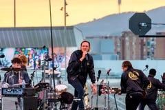Arcade Fire music band perform in concert at Primavera Sound 2017. BARCELONA - JUN 1: Arcade Fire music band perform in concert at Primavera Sound 2017 Festival Stock Photo
