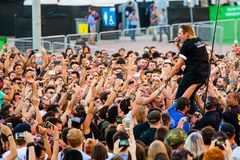 Arcade Fire music band perform in concert at Primavera Sound 2017 Festival. BARCELONA - JUN 1: Arcade Fire music band perform in concert at Primavera Sound 2017 Stock Photography