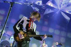 Arcade Fire -  Richard Reed Parry. Rio de Janeiro, April 4, 2014 Royalty Free Stock Images