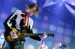 Arcade Fire -  Richard Reed Parry. Rio de Janeiro, April 4, 2014 Royalty Free Stock Photography