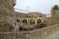 Arcade in fortress Peniche Stock Photo