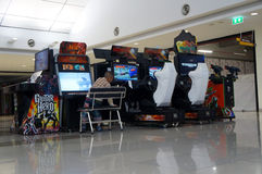 Arcade game cabinets stock image