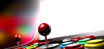 Arcade Game With Illuminated Screen. A vintage arcade game machine with colorful controllers and a bright illuminated screen on a bright arcade background Royalty Free Stock Image