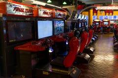 Arcade. Game machine of motor racing Stock Photos