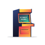 Arcade game machine. Retro video game. Message on the screen start game. Vector illustration on white background Stock Illustration