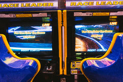 Arcade game machines. In a game room Royalty Free Stock Photos