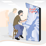 The Arcade Game Master. A game master plays solo as his fans and opponents look on, too afraid to join in and lose. (Vector file is separated into layers to royalty free illustration