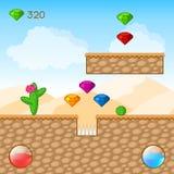 Arcade Game World. Cartoon Desert with Blocks, Diamonds. Vector Design vector illustration
