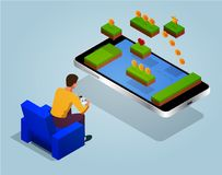 Arcade game world concept. Video game screen and gamer person gaming online with console controller android phone or Royalty Free Stock Images