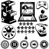 Arcade games icons. Vector black illustration of arcade electronic game machines, joysticks and buttons royalty free illustration