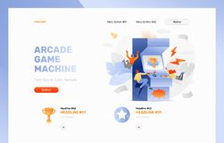 Arcade Gaming Website Header. Vector header template of arcade gaming. Tiny peoples playing arcade game. Trophy cup on machine screen, lightnings around royalty free illustration