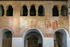 Arcade for gentlefolk in a medieval church Stock Photo
