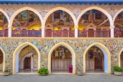 Arcade with golden mosaics in monastery stock photography