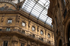 Arcade inside the city centre of milano Royalty Free Stock Images