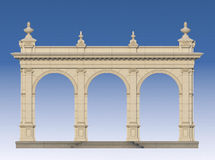 Arcade with ionic pilasters in classic style. 3d render. Arcade from a stone with ionic pilasters. 3d render stock illustration