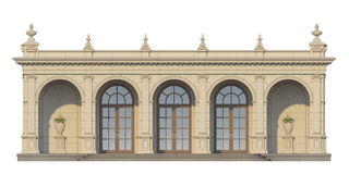 Arcade with ionic pilasters in classic style. 3d render Royalty Free Stock Image