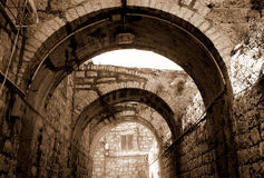 Arcade in Jerusalem. City, sepia Royalty Free Stock Photos