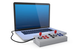 Arcade joystick. Arcade joystick connected to laptop pc isolated on white background. (3D Render stock illustration