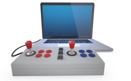 Arcade joystick. Arcade joystick connected to laptop pc isolated on white background. (3D Render Royalty Free Stock Photos