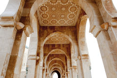 Arcade King Hassan II Mosque, Casablanca Royalty Free Stock Images