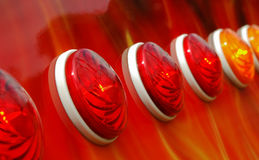 Arcade lights. Red and amber amusement arcade lights Stock Photo