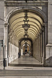 Arcade in Lisbon. Arcade at downtown of Lisbon, Baixa district Royalty Free Stock Images