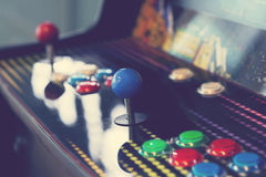 Arcade machine. Close up with retro filter Stock Image