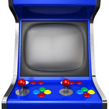 Arcade Machine Closeup. A vintage arcade game machine with colorful controllers and a screen on an isolated white background vector illustration