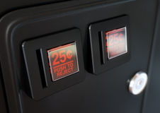 Arcade Machine Coin Slot Panel Stock Photo