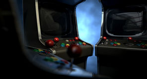 Arcade Machine Group Huddle Stock Image