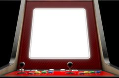 Arcade Machine Screen. A closeup of a blank screen of a vintage arcade game machine with colorful controllers on an isolated background - 3D render stock illustration