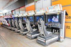 Arcade machines. Row of arcade machines.Game is Initial D.chengdu,china Royalty Free Stock Photos