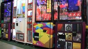 Arcade machines. UKRAINE, KIEV, SEPTEMBER 15, 2011: Arcade machines at exhibition in Kiev, Ukraine, September, 15, 2011 stock video