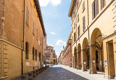 Arcade in medieval street, Bologna, Italy. Arcade in medieval town of Bologna in Italy Stock Photos