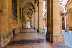 Arcade in medieval town of Bologna, Italy Royalty Free Stock Photos