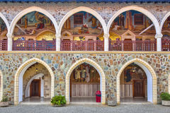 Arcade with mosaics in kykkos monastery. CYPRUS, PAPHOS- MAY 2 2016: Arcade with mosaics in the famous Kykkos monastery. Troodos mountains, Cyprus Stock Photo