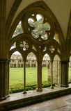 Arcade with mullions at Cathedral cloister , Salisbury. Detail of arcade mullions of large cloister alongside famous Gothic church Stock Photography