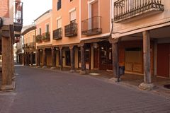 Arcade of old streed of Medina de Rioseco, Valladolid province, Stock Photo