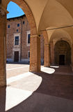 Arcade of the palace. The imposing Palazzo Ducale in Urbino and its arcade Royalty Free Stock Image