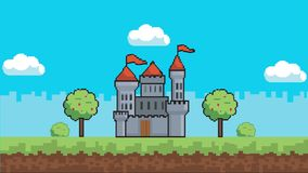 Arcade palace game background- arcade game background. 4k arcade castle game background, loopable with clouds animation. High quality clip royalty free illustration