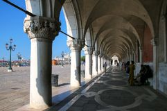 Arcade of Palazzo Ducale at Piazza San Marco in Venice, Italy Stock Photography