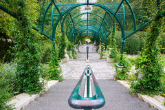 Arcade at the Parc de Belleville in Paris. France Stock Photo