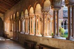 Arcade in patio of Basilica di San Zeno in Verona. VERONA, ITALY - MARCH 27, 2017: arcade in patio of Basilica di San Zeno San Zeno Maggiore, San Zenone in Royalty Free Stock Photo
