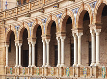Arcade at Plaza de Espana, Seville, Spain. Ornate arcade at Plaza de Espana, Seville Royalty Free Stock Photography