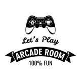 Arcade Room Label Gamepad lässt Spiel Vektorillustration lokalisiert auf Weiß Stockfotos