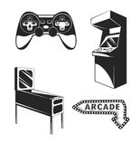 Arcade room. video game set. Gaming machine. Computer Video Game Joystick and videopad. gumball machine. Vector Royalty Free Stock Photo