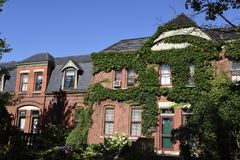 Arcade Row Houses. This is a Summer picture of a cluster of the Arcade Row House of the historic Pullman Town located in Chicago, Illinois in Cook County. The stock photos