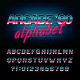 Arcade 80`s retro alphabet font. Metallic effect shiny oblique letters and numbers. Vector typography for your design Stock Image